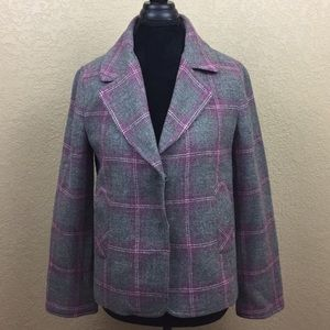 Talbots Petite Multi Color Plaid Career Blazer C23